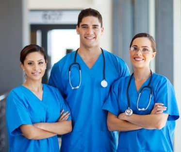 medical staffs at the hospital hallway
